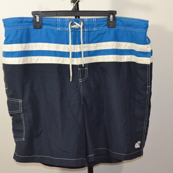 Caribbean Joe Other - Caribbean Joe 2XL Swim Trunks Shorts Blue White St